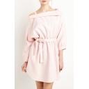 Women's Boat Neck Off the Shoulder Tie Waist Sweet Pink Loose Casual Mini Dress