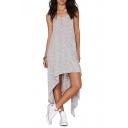 Women's Basic Scoop Neck Casual Asymmetrical Hem Plain Tank Dress