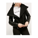 Cool Lapel Zipper Placket PU Patchwork Biker Jacket