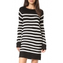 Striped Color Block Round Neck Long Sleeve Mini Knitted Dress