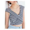 New Stylish Striped Crisscross Front V-Neck Cap Sleeve Color Block Cropped Tee