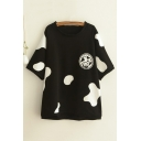 Cute Cow Color Block Printed Round Neck Short Sleeve Tee Top