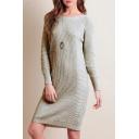 Chic Long Sleeve Round Neck Plain Mini Knitted Dress