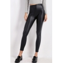 Women's Fashion High Waist Plain PU Leggings