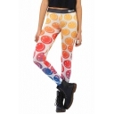 Lovely 3D Smile Face Printed Color Block Skinny Fashion Leggings