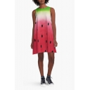 Cute Watermelon Printed Sleeveless Color Block Mini Swing Dress
