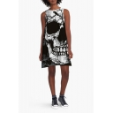 Funny 3D Skull Printed Sleeveless Boat Neck Mini A-Line Dress