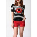 Women's Round Neck Short Sleeve Striped Lip Print Knit Sweater Tee
