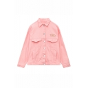 Embroidery Cartoon Graphic Pattern Single Breasted Lapel Plain Denim Coat with Pockets