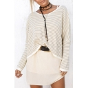 Women's Striped Dropped Long Sleeve Round Neck Pullover Sweater