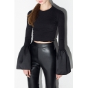 New Stylish Bell Long Sleeve Round Neck Plain Cropped Top