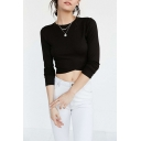 Sexy Round Neck Long Sleeve Plain Cropped T-Shirt