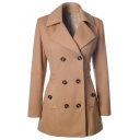 Chic Notched Lapel Double Breasted Long Sleeve Plain Tunic Coat