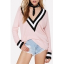Sexy Plunge V-Neck Contrast Cuffs Long Sleeve Pullover Sweater