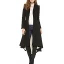 Women's Slim Single Breasted Lapel High Low Hem Plain Tunic Coat
