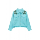 Embroidery Floral Shoulder Lapel Single Breasted Raw Hem Coat with Two Pockets