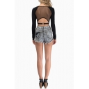 See Through Mesh Button Back Sexy Cross V-Neck Long Sleeve Cropped T-Shirt