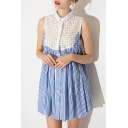 New Lapel Single Breasted Patchwork Striped Sleeveless Color Block Mini Shirt Dress