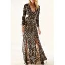 Sexy Plunge V-Neck Cutout Back Long Sleeve Split Hem Leopard Printed Maxi A-Line Dress