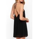 Women's Sexy Ladder Open Back Sleeveless Mini Slip Dress