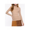 Chic Elegant High Neck Long Sleeve Plain Pullover Sweater