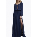 Sexy Cutout Tied Round Neck Long Sleeve Split Side Plain Maxi Party Dress