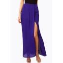 Fashion Sexy Split Front Asymmetric Hem Plain Skirt