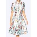 Women's Elegant Lapel Collar Short Sleeve Floral Print Midi Flare Dress