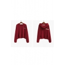 Two Kinds of Wearing Boyfriend Stylish Hooded Embroidery Letter Plain Hoodie Sweatshirt