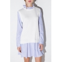 New Stylish Ruffle Neck Long Sleeve Sweater Patchwork False Two-Pieces Color Block Dress