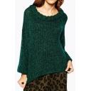 Fashion Loose High Low Hem Round Neck Long Sleeve Plain Sweater