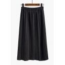Popular Elastic High Waist Plain Maxi Pleated Skirt