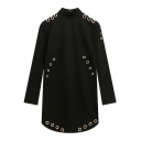 Women's Mock Neck Long Sleeve Metal Ring Plain Black Shift Dress