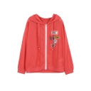 New Style Hooded Zip Placket Long Sleeve Letter Number Patched Casual Coat