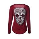 Funny Skull Printed in Back Long Sleeve Round Neck Asymmetric Hem T-Shirt