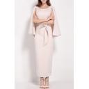 Fashion V-Back Cape Sleeve Round Neck Tie Waist Slit Back Maxi Shift Dress
