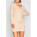 Elegant Cutout V-Neck Long Sleeve Plain Mini Dress