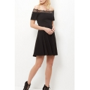 Sexy Off the Shoulder Lace Patchwork Short Sleeve Mini A-Line Dress