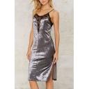 Fashion Sexy Spaghetti Straps Sleeveless Lace Patchwork Split Side Midi Dress