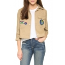 Notched Lapel Single Breasted Long Sleeve Appliqued Embroidery Pattern Ruched Back Coat