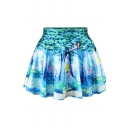 Pure Forest Print High Waist Pleated Mini Skirt