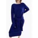 Women's Chic Round Neck Long Sleeve Tie Waist Casual Plain Knit Sweater Dress