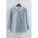 Contrast Stand-Up Collar Embroidery Cat Striped Blouse Top with Buttons