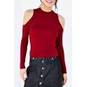 Fashion Cold Shoulder Round Neck Long Sleeve Plain T-Shirt