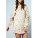 Women's Ruffle Long Sleeve Round Neck Floral Printed Mini Dress