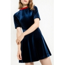Women's Contrast Round Neck Short Sleeve Mini A-Line Dress