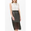 New Stylish Chiffon Lace Patchwork Lapel Single Breasted Sleeveless Color Block Dress