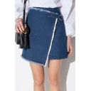 Fashion Asymmetric Hem Wrap Front Zip Back Mini Denim Skirt