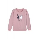 Girl's Round Neck Long Sleeve Lovely Rabbit Letter Print Casual Sweatshirt