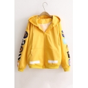 New Stylish Drawstring Hooded Applique in Sleeve Zipper Placket Coat